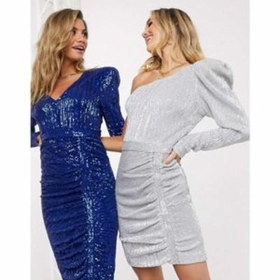 ラヴィッシュアリス Lavish Alice レディース ワンピース ワンピース・ドレス Structured One Shoulder Sequin Mini Dress シルバー