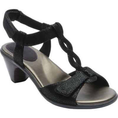 アラヴォン Aravon レディース サンダル・ミュール シューズ・靴 Medici T Strap Heeled Sandal Black Leather