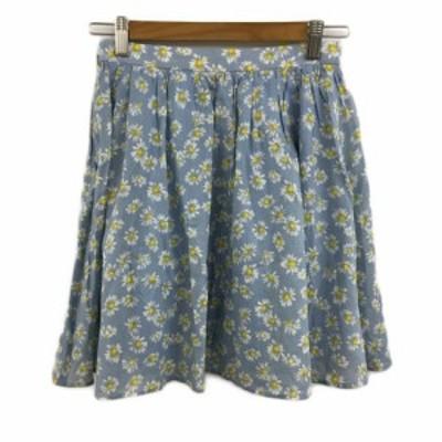 【中古】バナーバレット Banner Barrett スカート フレア ギャザー ミニ 花柄 36 青 黄 ブルー イエロー レディース
