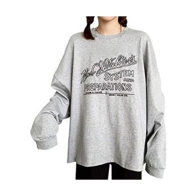 [ジョプリンアンドコー] 5カラー 刺繍英字ロゴスウェット ドロップショルダー ゆったり かわいい 春物 レディース (グレー L)