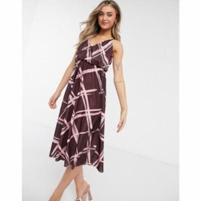 エイソス ASOS DESIGN レディース ワンピース キャミワンピ ワンピース・ドレス cami plunge midi dress with blouson top in grid print