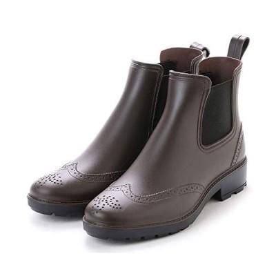 [アシスタント] レインブーツ メンズ レインシューズ サイドゴア ブーツ ビジネスシューズ ウイングチップ 長靴 (ブラウン 24.0 cm)