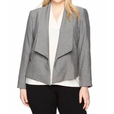 Nine West ナインウエスト ファッション 衣類 Nine West NEW Gray Womens Size 24W Plus Open-Front Flyaway Jacket
