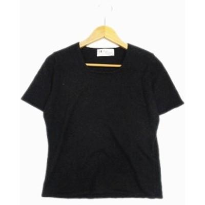 【中古】Pearls&Cashmere カシミア100% セーター ニット カットソー 半袖 クルーネック M グレー レディース/29