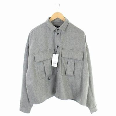 【中古】未使用品 ノーク N.O.R.C ウールカルゼビッグシルエットシャツ 長袖 2 グレー /KN ■OS レディース 【ベクトル 古着】