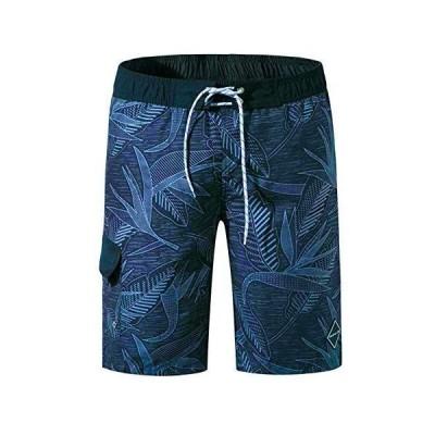 メンズ 水着 サーフパンツ オシャレ 海パン 海水パンツ メッシュインナー 通気速乾 UVカット ボードショーツ 02ネイビー M_実際サイ