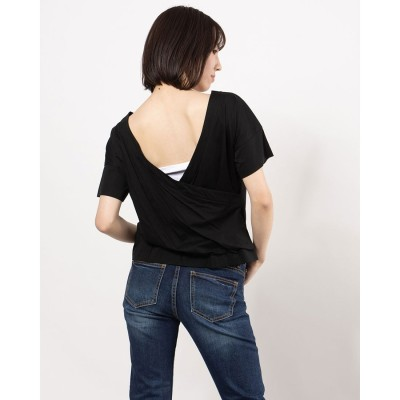 リネーム Rename バックオープンハーフスリーブTeeシャツ(ブラック)