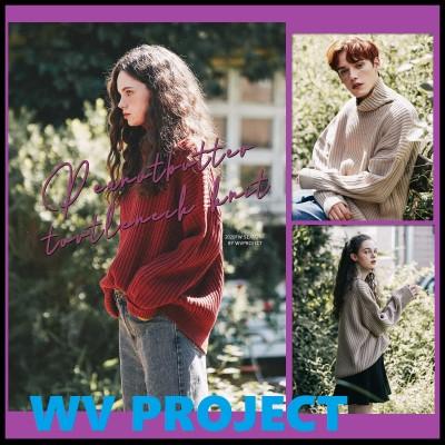 [WV PROJECT]人気韓国ファッションピーナッツバタータートルネックニット[4色]日本未入荷/韓国のカップルのTシャツ