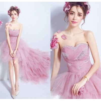 チュールスカート お呼ばれ パーティードレス フォーマルドレス 着痩せ 結婚式ドレス 大人 上品 20代30代40代 不規則ワンピース