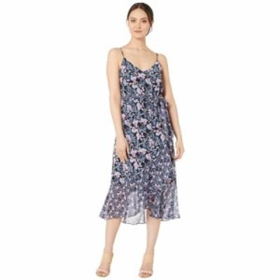 ヴィンス カムート Vince Camuto レディース ワンピース ワンピース・ドレス charming floral ruffle front belted dress Classic Navy