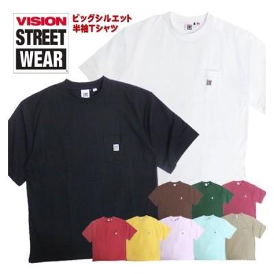VISION Tシャツ USAコットン 半袖Tシャツ ヴィジョンストリートウェア トップス ビッグシルエット 胸ポケット VISION-153