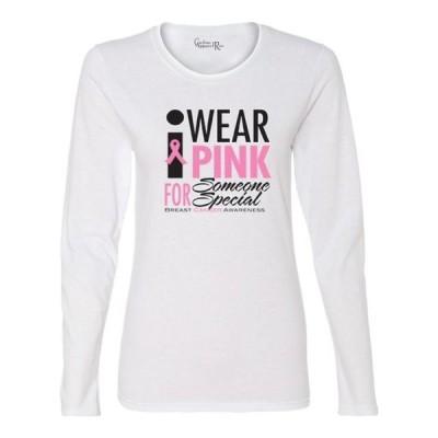 レディース 衣類 トップス I Wear Pink For Someone Womens Long Sleeve Top Tシャツ