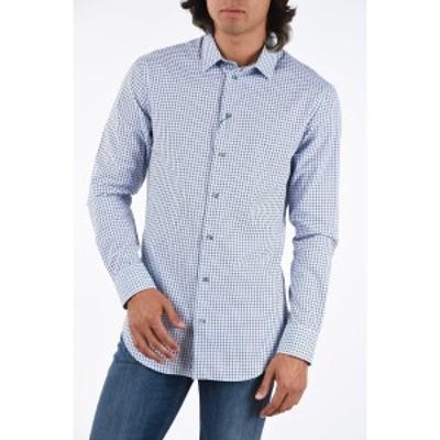 EMPORIO ARMANI/エンポリオ アルマーニ Bianco, Blu メンズ EMPORIO Checked Print Shirt dk