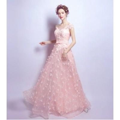 ウェディングドレス  ドレス 花びら 春 櫻ピンク ピンク カラードレス 結婚式 披露宴 刺繍/ プリンセスライン/ミニドレス