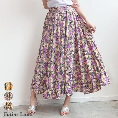スカート ロングスカート 花柄 フラワー フレアスカート ウエストゴム  マキシスカート 韓国 ファッション たっぷりフレアのフラワー柄ロングスカート