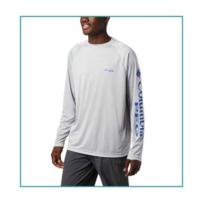 Columbia Men's PFG Terminal Tackle Long Sleeve Tee , Cool Grey/Vivid Blue Logo, X-Large【並行輸入品】