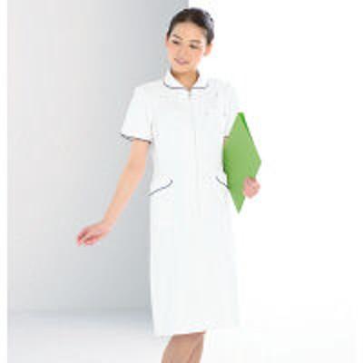 KAZENKAZEN ワンピース半袖 (ナースワンピース) 医療白衣 ホワイト×ネイビー 4L 006-28(直送品)