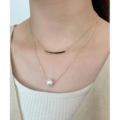 wears / プレート&パール コンビ2連ネックレス WOMEN アクセサリー > ネックレス