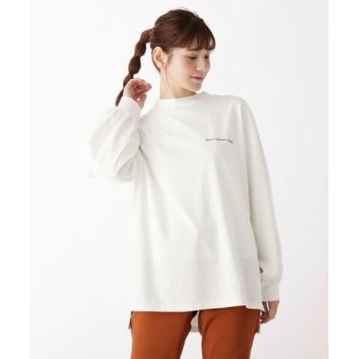 SHOO・LA・RUE/シューラルー 【M-LL】モックネックロゴ刺しゅう長袖Tシャツ オフホワイト(003) 03(L)