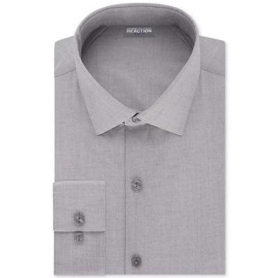 ケネス コール Kenneth Cole Reaction メンズ シャツ トップス Slim-Fit Techni-Cole Flex Collar Solid Dress Shirt Grey