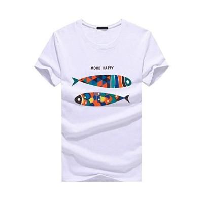 CHROME CRANE(クロム クレイン) メンズ カジュアル 半袖 魚 コメディー プリント Tシャツ キャラ デザイン TSP015 (01.ホ
