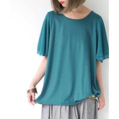【オシャレウォーカー】 『nOrフレアスリーブデザインTシャツ』 レディース ブルー 2(LL~3L) osharewalker
