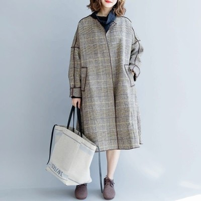 リバーコート ロングコート グレンチェック フリーサイズ ウール ゆったり モモンガスタイル マント ポンチョ 上品 大人 グレンチェック