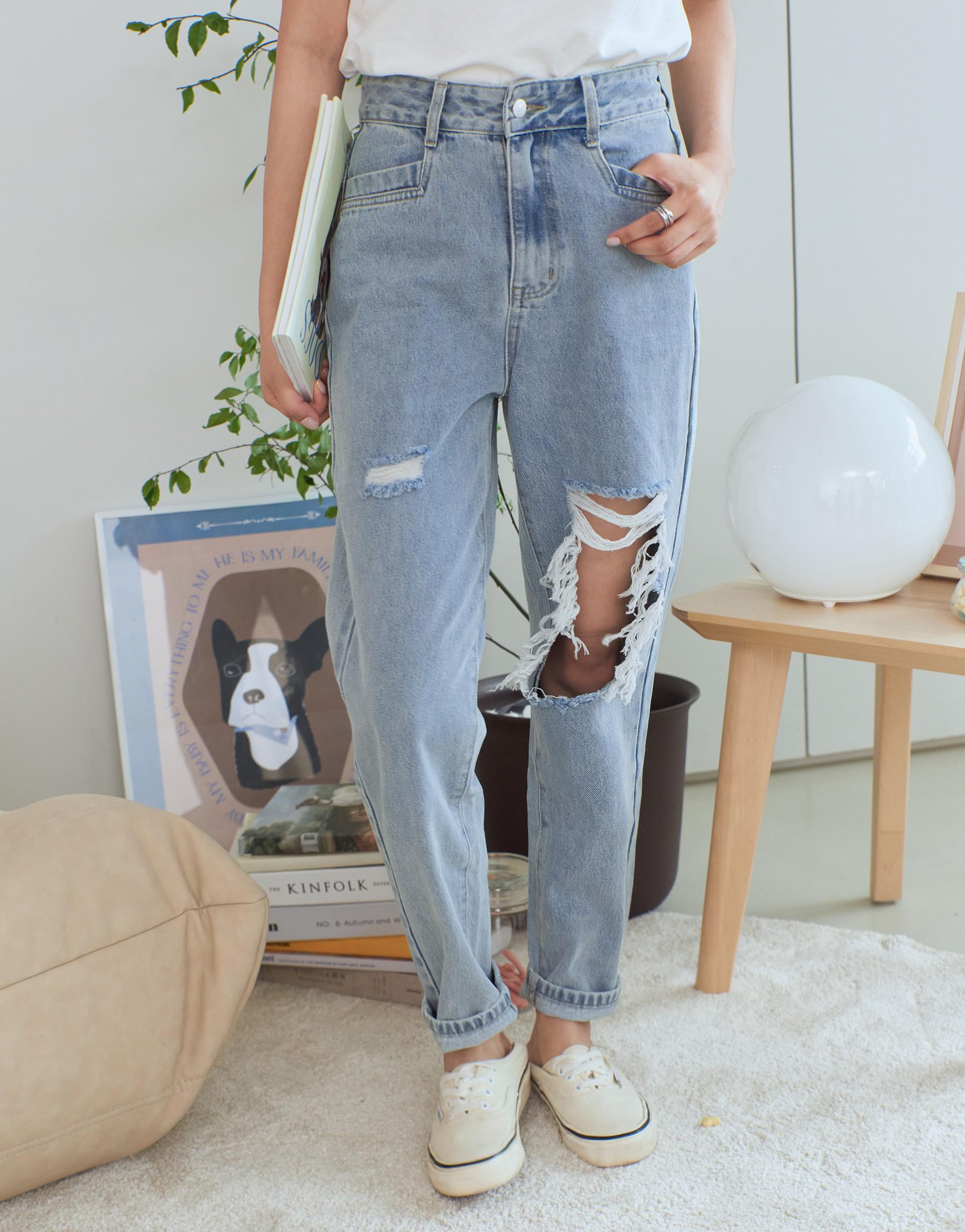 #PS201 個性破洞造型牛仔褲-PAZZO