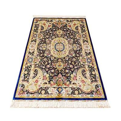 海外限定 Yuchen 4'x6' Persian Silk Rug Blue Vintage Handmade Oriental Tabriz Rug for Living Room
