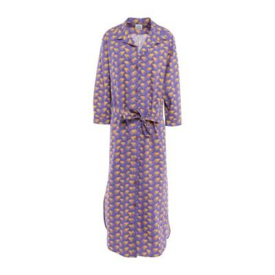 アティックアンドバーン ATTIC AND BARN 7分丈ワンピース・ドレス パープル 42 コットン 100% 7分丈ワンピース・ドレス