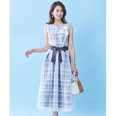 【大きいサイズ】 スタクロ モチーフレース使いシアーチェックワンピース ワンピース, plus size dress