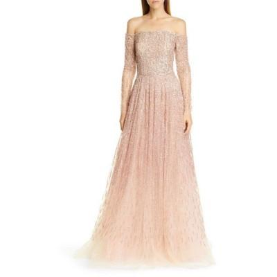 パメラ ローランド ワンピース トップス レディース Sequin & Crystal OmbrOff the Shoulder Gown Quartz