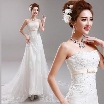 ウェディングドレス マーメイドライン ウエディングドレス サッシュベルト 花嫁 ロングドレス 披露宴 マーメイドドレス 二次会 エンパイア 結婚式 バックレス
