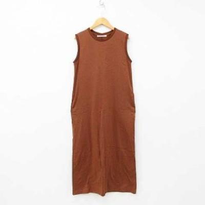 【中古】LADY LUCK LUCA ワンピース ドレス ノースリーブ クルーネック ロング丈 バックスリット 無地 綿 ブラウン