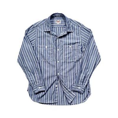 ヒューストン 長袖ワークシャツ ストライプ柄 ブルー (XL)