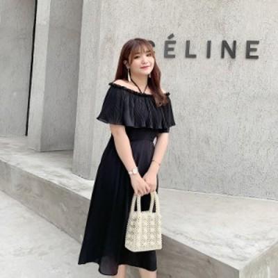 ロングワンピース 大きいサイズ ミモレ丈 体型カバー フレア パーティードレス 大人可愛い カジュアル 韓国ファッション トレンド レディ