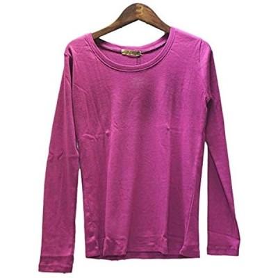 スリーピングシープ やわらか コットン 快適 長袖 Tシャツ 綿 フライス 丸首 クルーネック シンプル(f.ラズベリー, 4Lサイズ)