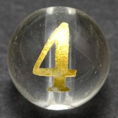 天然石 ビーズ【彫刻ビーズ】水晶 8mm (金彫り) 数字「4」 (縦穴) パワーストーン