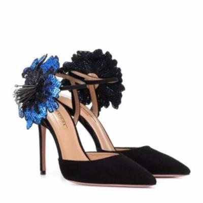 アクアズーラ パンプス Disco Flower 105 suede pumps Black