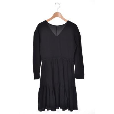 miu miu シルク フリル ドレス ワンピース 36 ブラック ミュウミュウ