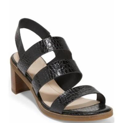 コールハーン レディース サンダル シューズ Adella Croco Print Leather Sandals Black Croc Print
