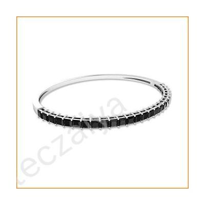 2.75Ct SGL Certified Black Spinel Bangle Bracelet, Princess Cut Gemstone Wedding Bracelet, Statement Gold Promise Bracelet, Unique Gold Charm Bracelet