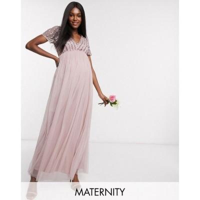 マヤ マタニティ Maya Maternity レディース パーティードレス Vネック マキシ丈 Bridesmaid v neck maxi dress with tonal delicate sequin in pink