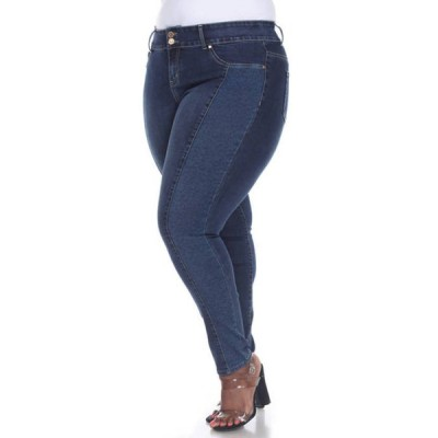 ホワイトマーク レディース デニムパンツ ボトムス  Plus Size Denim Leopard Panel Jeans