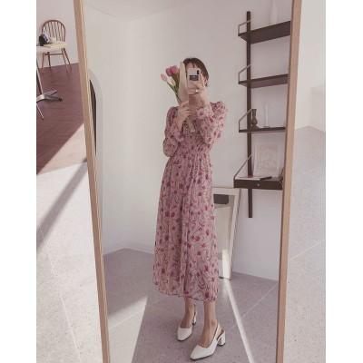 💚個性的なデザイン💚韓国ファッション  CHIC気質  sweet系 スモールフローラル スリムフィット  Vネック ロングスカート ワンピース