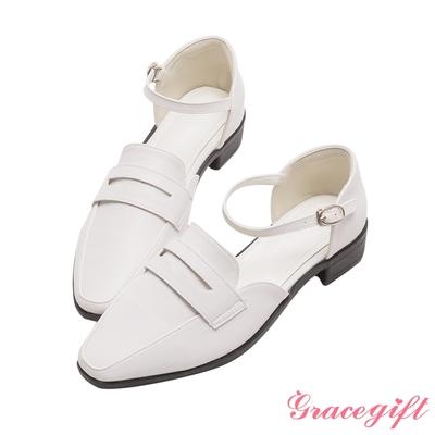 Grace gift-側空繫踝低跟樂福鞋 白