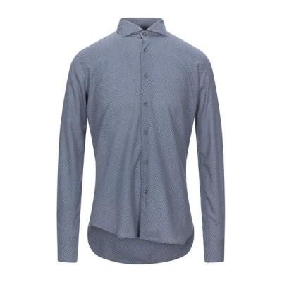 XACUS 柄入りシャツ  メンズファッション  トップス  シャツ、カジュアルシャツ  長袖 ブルーグレー
