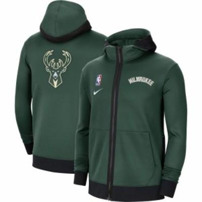 ナイキ Nike メンズ パーカー トップス Milwaukee Bucks Black Therma Flex Full-Zip Hoodie