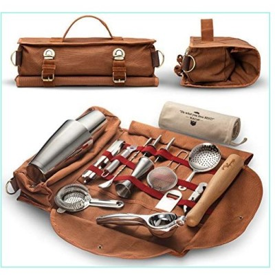 Travel Bartender Kit Bag   Professional 17-piece Bar Tool Set with Stylish Portable Bar Bag and Shoulder Strap for Easy Carry and Storage   Best Trave