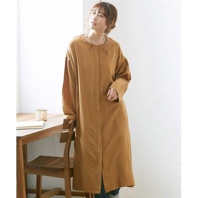 綿麻 ノーカラーシャツコートジャケット (ジャケット・ブルゾン)(レディース)Jackets